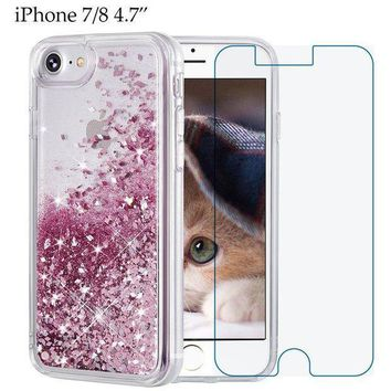 Iphone 8 Case Iphone 7 Case Maxdara [free Screen Protector] Protective Glitter Liquid Floating Bling Sparkle Quicksand Bumper Case Pretty Fashion Design For Girls Children 4.7 Inch (rosegold)