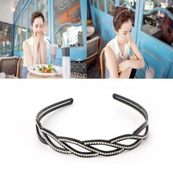 ONETOW Trendy Women Wave-Shaped Hair Band Rhinestone Toothed Hair Hoop Headbands Jewelry