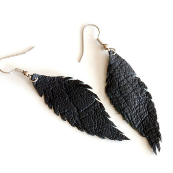 Black leather fringe feather earrings with hypo allergenic surgical grade stainless steel ear wires, lightweight urban chic black earrings