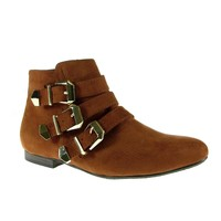 Women's Breckelle's Belted Ankle High Fashion Boots Astro-11 Tan
