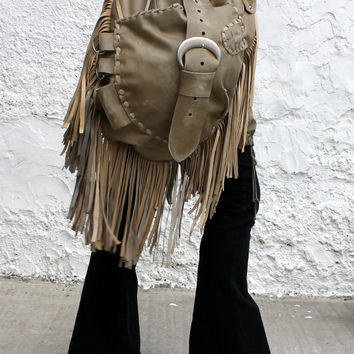 Oversized leather distressed raw edge hobo bohemian hippie tote bag festival fringe Sweet Smoke southwest western tribal asymmetrical pocket