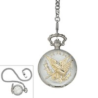 Two Tone Star & Eagle Pocket Watch - Men