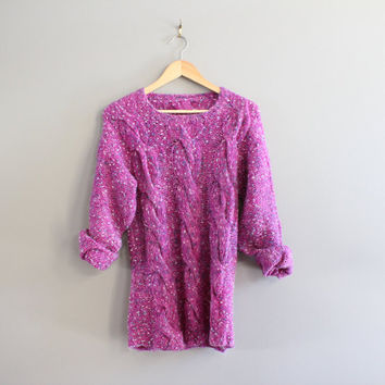 Hand Knitted Purple Sweater Cable Knit Minimalist Boho Handmade Knitwear Size S - M