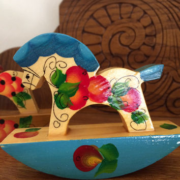 Rocking Horse wooden toy / Indigo blue,red figurine / Hand painted horse / Colorful horse/ Birthday gift / Home decor // Gift for collector