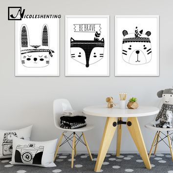 Tribu Bear Fox Head Wall Art Canvas Poster Black White Woodland Animal Nursery Print Painting Nordic Picture Kid Room Decoration