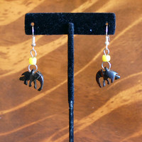 Hand-Crafted Wooden/Bead Elephant Earrings