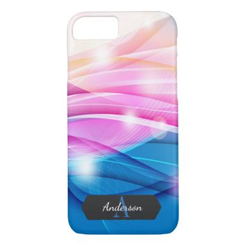 Pink and Blue Streamer Abstract Monogrammed iPhone 7 Case