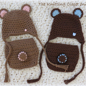 Crochet Diaper Cover Pattern and Hat Pattern - Newborn Photo Prop - Soaker Pattern - Bear