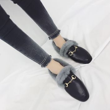 Women Fashion All-match Plush Chunky Low Heel Flats Shoes Loafer Leather Shoes