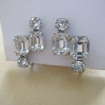 Vintage Kramer NY Art Deco Style Crystal Rhinestone Signed Silver Tone Screw Back Earrings Something Old for Wedding