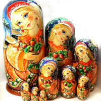 FREE SHIPPING the LARGEST ever size Nesting doll Strawberry Ornament 10 psc 19in 50 cm Russian wood doll hand curved painted collectible
