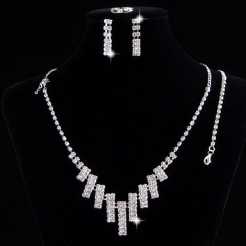Free shipping Statement Necklace Silver Wedding Bridal Austrian Crystal Rhinestone Vintage Jewelry Sets Wedding Jewelry Sets