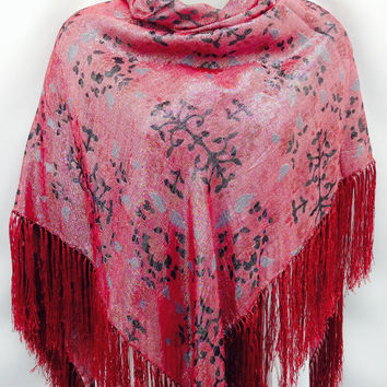 Large Red silk square shawl, Sparkle Fringe Piano scarf, Anniversary gift, Holiday gift, Best friend gift, Christmas Gift, Evening Red dress