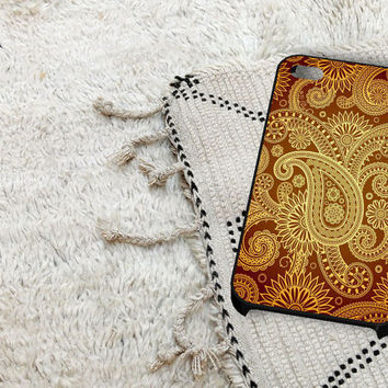 Red Gold Damask Pattern iPhone 5 iPhone 4 / 4S Plastic Hard Case Soft Rubber Case
