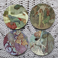 The Bells & Fairies in the Garden -- Edmund Dulac Illustrations Mousepad Coaster Set