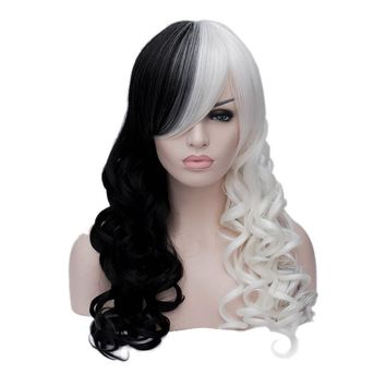 Cruella Deville Side Bangs Half White and Black 65cm Wavy Long Synthetic Cosplay Wig Hair + Wig Cap