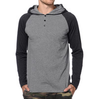 Zine Tracer Grey & Black Hooded Henley Baseball Shirt at Zumiez : PDP