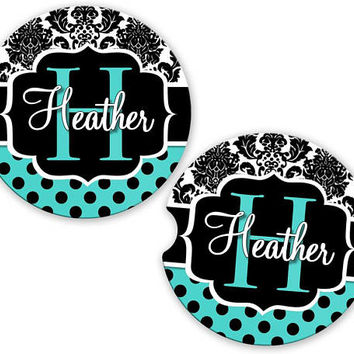Car Coasters Aqua Damask Polka Dots Name , Personalized Monogrammed Cup Holder Coaster, Custom Auto Gift, Sandstone Coaster