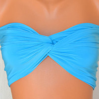 Turquoise spandex twisted lycra bandeau swimsuit strappless bra bandeau bikini swimwear bikini top girly accessories