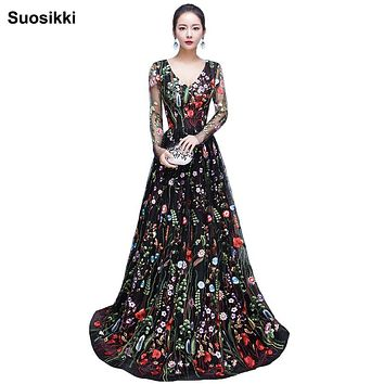 2017 New Design embroidery Evening Dresses long high quality Charming A-line Lace full Sleeves Prom Party Gown robe de soiree