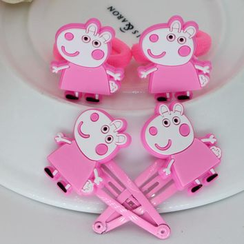 isnice 12pcs/lot ,Hair ornament Colorful headband Children Pig Hair Accessories Little Ponys Hair Clip Cartoon Kids Hairpins