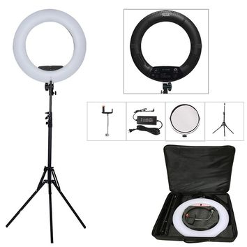"Yidoblo Black FS-480II 5500K Dimmable Camera Photo/Studio/Phone/Video 18""55W 480 LED Ring Light LED Lamp+ 200cm tripod +Bag Kit"