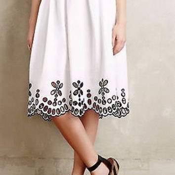 NWT Anthropologie $178 Poplin Eyelet Skirt Sz 00 P, 6 and 8 by Moulinette Soeurs
