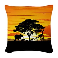 #Wild #Animals on #African #Savannah #Sunset #Pillow SOLD at #Cafepress - Thanks to the Buyer :)  http://www.cafepress.com/+wild_animals_on_