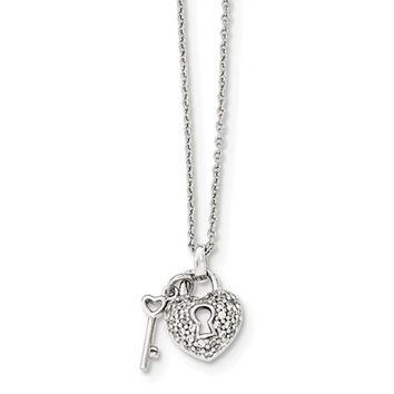 Tiny Sterling Silver CZ Heart Lock & Key Pendant 12mm (0.50 Inch) w/2-Inch Extender Necklace