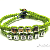 Lime Green Tree Hugger Bracelets, Macrame Hemp Jewelry for Environmentalists