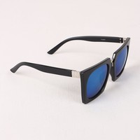 Geometric-Shape Plastic Frame Mirrored Sunglasses