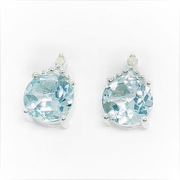 ON SALE - Genuine Blue Topaz & Natural Diamond Accented IOBI Precious Gems Stud Earrings