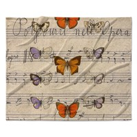 "Suzanne Carter ""Butterfly Opera"" Music Tan Fleece Throw Blanket"