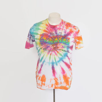 Vintage 90s GRATEFUL DEAD T-SHIRT / 1990s Rainbow Bears Tie-Dye Tee Shirt L