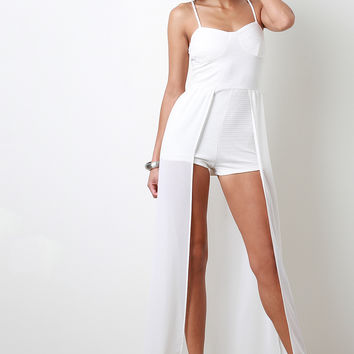 Chiffon Overlay Romper Dress