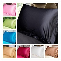 2016 New Double Face Envelope Pure Emulation Silk Satin Pillowcase Single Pillow Cover Multicolor Pillow Case Standard 48*74cm