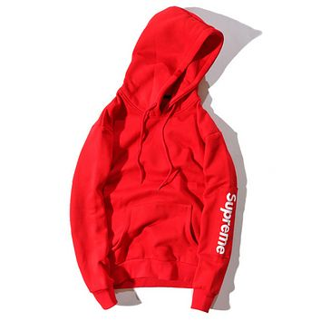 Champion Kirin arm sleeve patch printing men and women hooded pullovers sweater Red