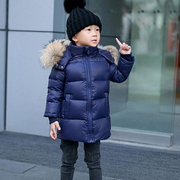 2-14Y Children Winter Coat 90% White Duck Down Boys Winter Jackets Big Real Fur Hooded Girls Winter Coat Kids Winter Clothes