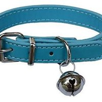 "Sky Blue Fashion Leather Pet Collars for Cats,baby Puppies Dogs,adjustable 8""-10"