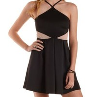 Black Crossover Mesh Cut-Out Skater Dress by Charlotte Russe