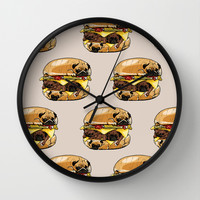 Pugs Burger Wall Clock by Huebucket