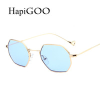 2017 New Classic Hexagon Square Clear Sunglasses Women Fashion Brand Designer Men Vintage Metal Frame Mirror Optical Sun Glasses