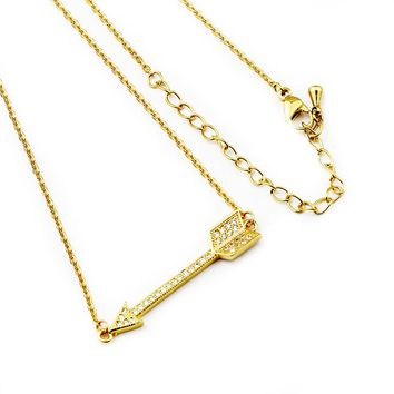 Fashion Sideways Hunger Game CZ Love Cupid's Arrow Necklaces Pendants Chain Choker Friendship Vintage Jewelry For Women Men