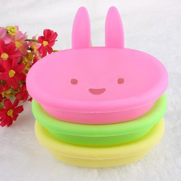 Wisely Cute Rabbit shape Plastic Holder Dish Soap Box with Cover
