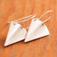 Cyber Monday Sale, Origami Plane Earring - silver plane earring, paper plane earring, silver origami earring, Japanese origami