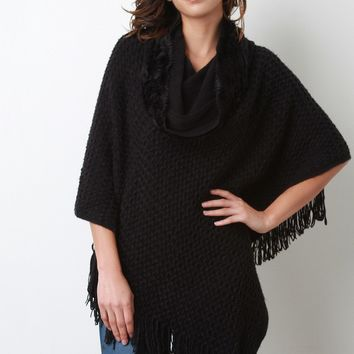 Textured Knit Cowl Neck Poncho