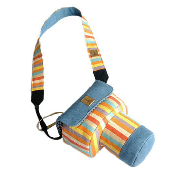Custom DSLR Camera Case Bag, Denim Blue with Colorful Strips Covered, Made to Order