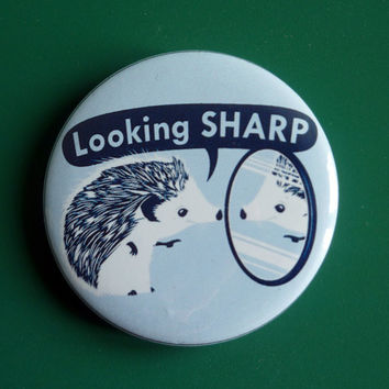 Looking Sharp Funny Porcupine Pinback Button Badge Pin