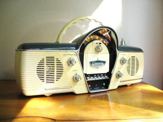 Vintage Cicena Classic Overdrive Radio Cassette Player, Portable, AM/FM Stereo, 50's Retro Style