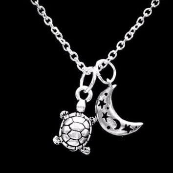 Crescent Moon Turtle Animal Sea Beach Nautical Celestial Gift Charm Necklace